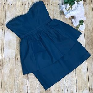 J. Crew Strapless Silk And Cotton Peplum Dress